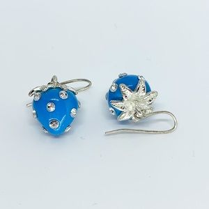 Vintage Blue Strawberry Earrings